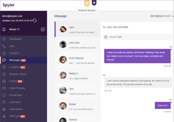 view messages on spyier