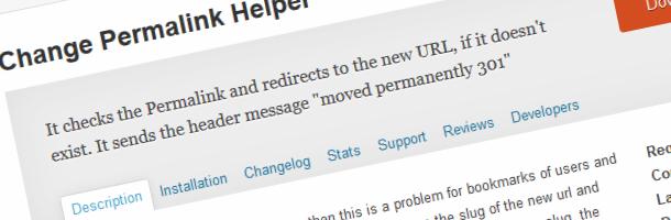Wordpress redirection plugin; change permalink helper
