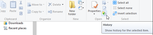 restore files from file history button in windows 10