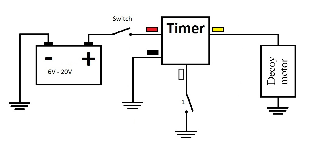 Decoy timer. Programmable 100 on-off cycles. 6V [DCOYTMR1