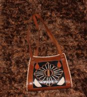 Unique brown African tribal print leather shoulder bag