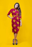 The Lynn Dress 3reec's Chic Creations and Collections Red Yellow Ankara Dashiki Kente African Print Ankarastyles Ethnic Tribal Midi Dress