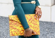 Yellow Flame Envelope Clutch 3reec's Chic Creations and Collections African Print Ankara Dashiki Retro Vintage Style Handbag Products for Women