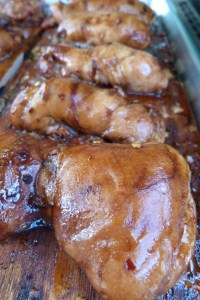 Cedar Planked Chicken Thighs with Soy Ginger Glaze