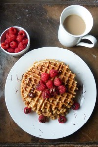 best whole grain waffles with raspberries