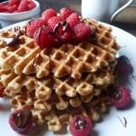 Best Whole Grain Waffles with Raspberries