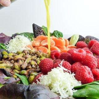 orange raspberry salad with orange poppyseed vinaigrette