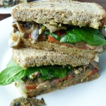 Whole Wheat Sandwich with Roasted Red Peppers, Mushrooms, and Brie
