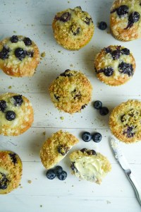 blueberry lemon muffins with pistachio crumb topping