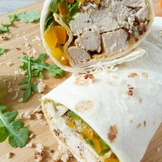 herb chicken, quinoa, and veggie wraps