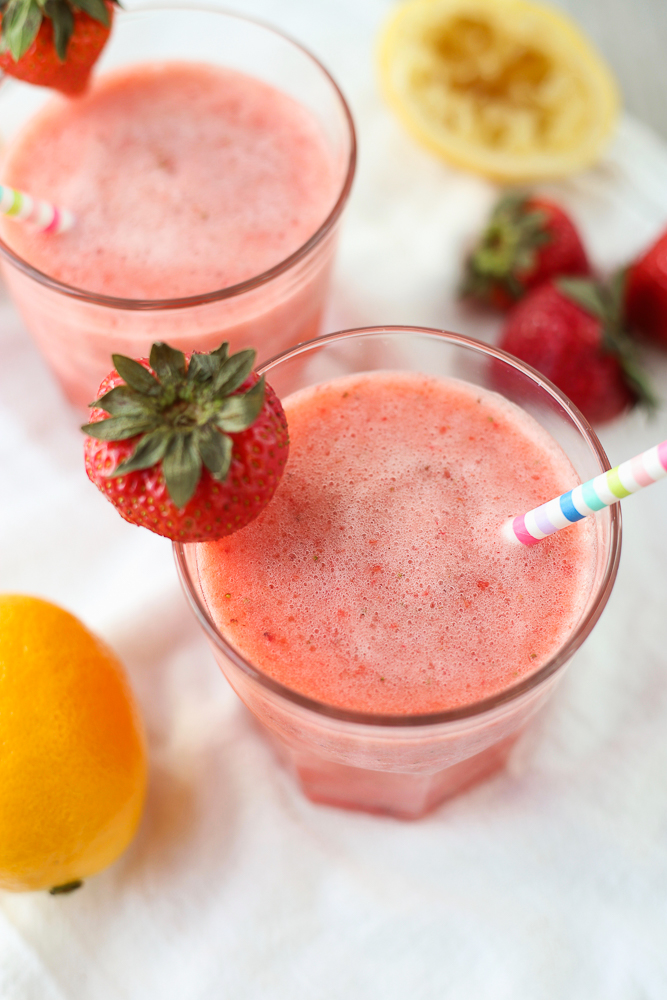 quick and easy frozen sparkling strawberry lemonade