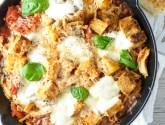 cozy cast iron skillet chicken and fresh mozzarella