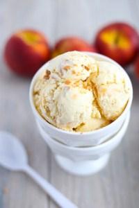 slow churn homemade peach ice cream
