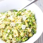 Raw Brussels Sprout and Broccoli Salad with Toasted Walnuts