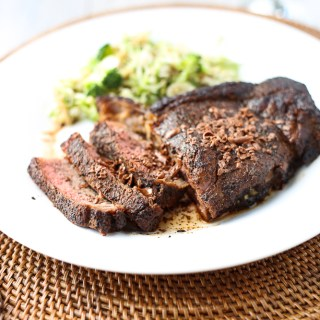 coffee and cocoa crusted steak