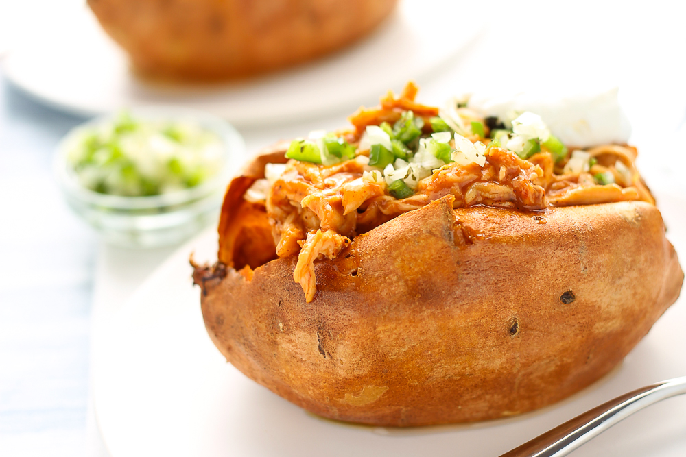 easiest weeknight bbq ranch chicken stuffed sweet potatoes