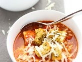 chicken parmesan soup with homemade croutons