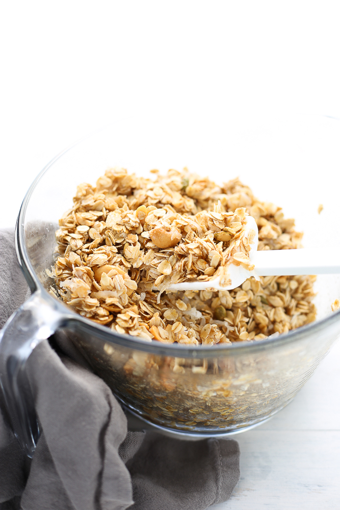 coconut and cashew granola with chocolate chips