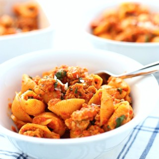 red pepper pasta with italian sausage