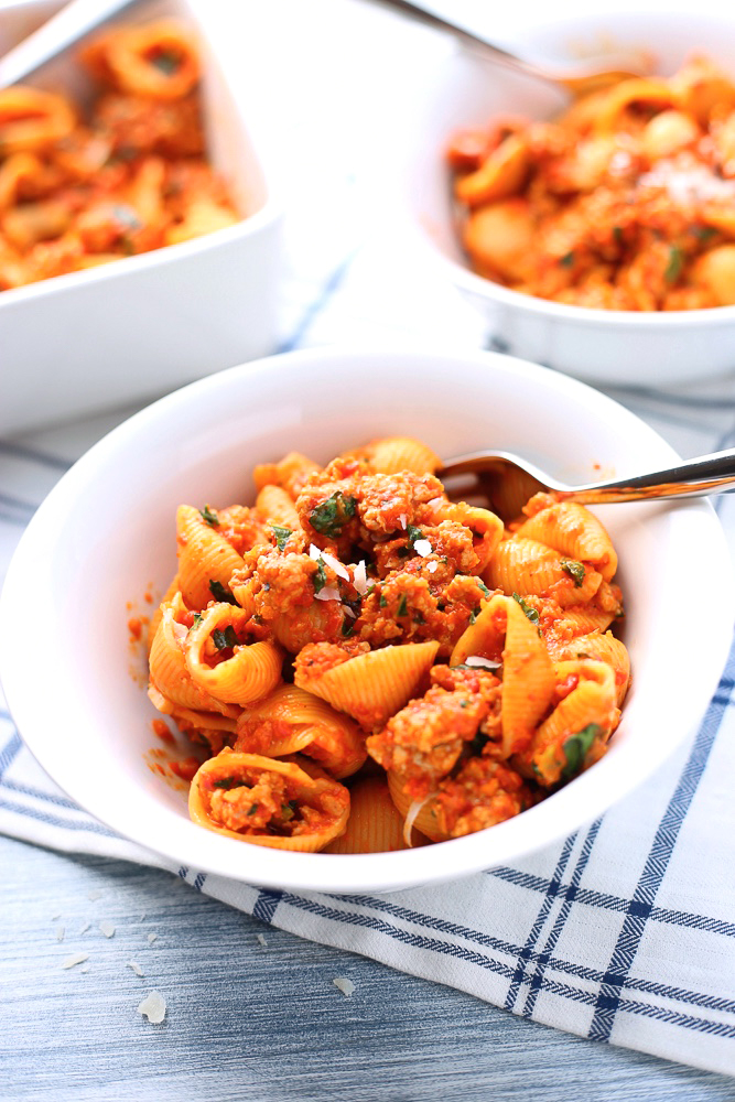 pasta shells with roasted red pepper sauce and italian sausage