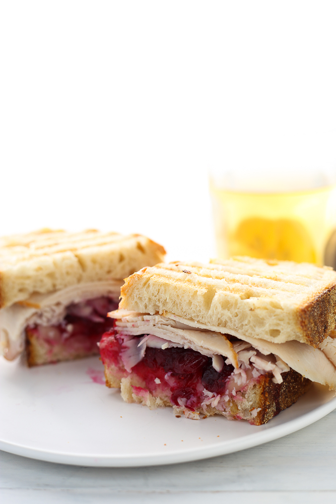 leftover turkey panini with cranberry sauce
