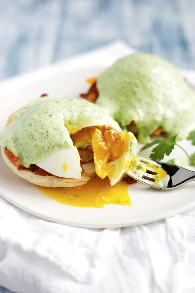 Modern Eggs Benedict with Avocado Sauce