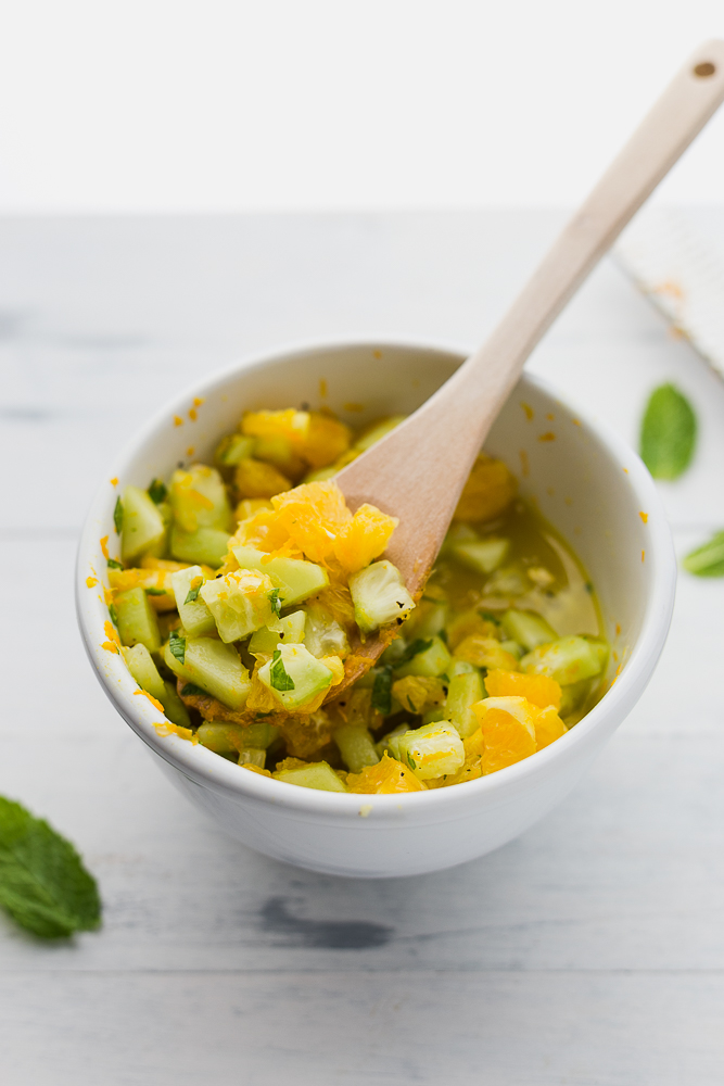 Simple Baked Cod with Cucumber Orange Relish