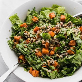 Kale and Romaine Salad with Roasted Sweet Potatoes