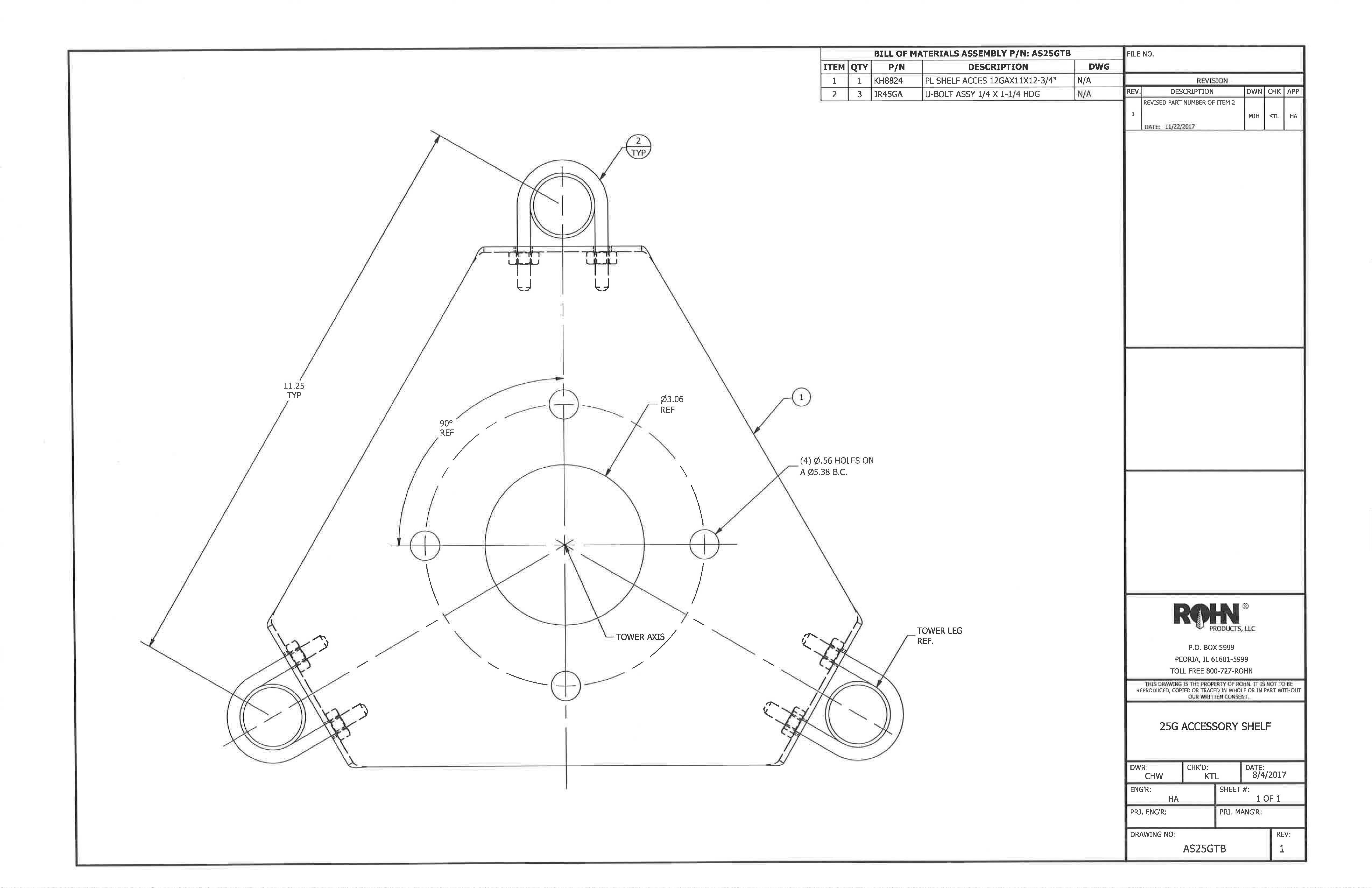 ROHN AS25GTB 25G Tower Thrust Bearing Accessory Shelf