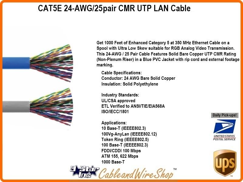 100 Feet Cat5e Wiring Diagram Cat5e 25 Pair Cmr Riser Utp Lan Cable Blue 1000 Reel 24 Awg