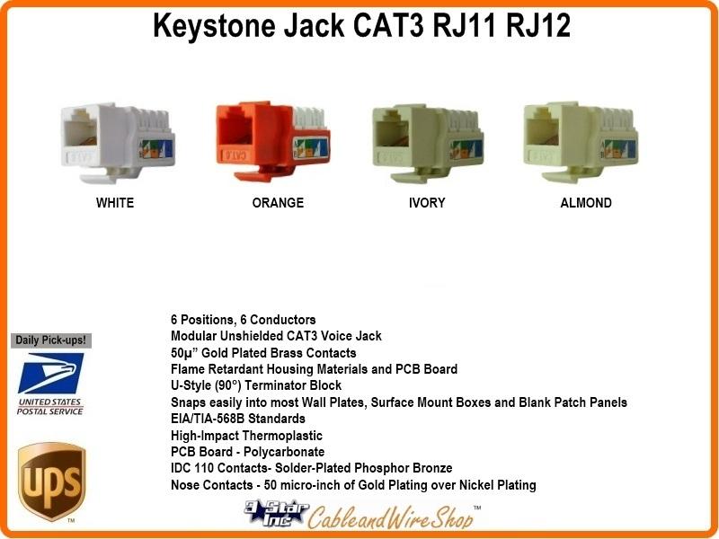 110 Phone Wiring Diagram Cat3 Rj11 Rj12 Keystone Voice Jack Almond U 3 Star