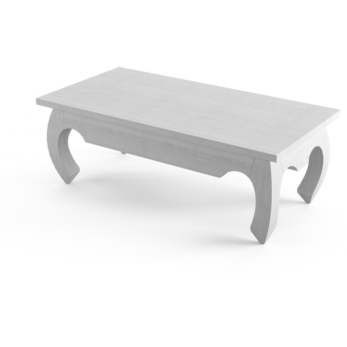 table basse rectangulaire bois blanche