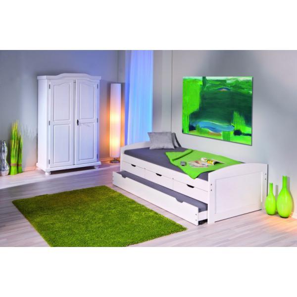 lit 90 x 190 cm a tiroirs en bois blanc ulli