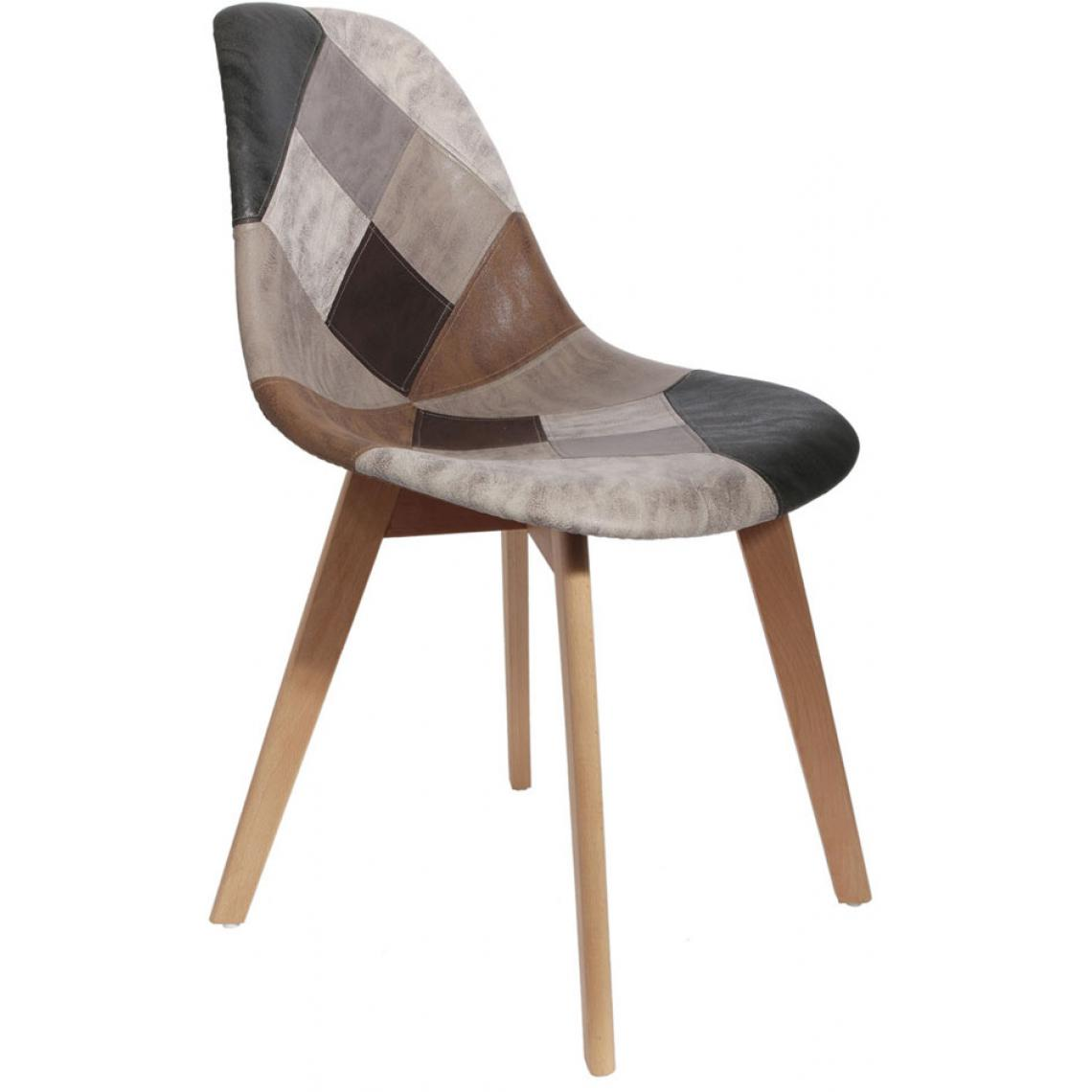 chaise scandinave patchwork marron