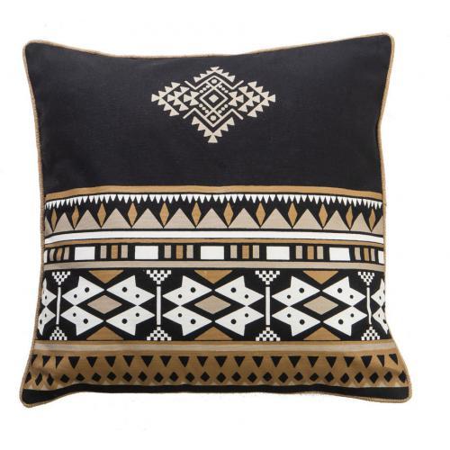 3s x home coussin imprime ethnique noir en coton 50x50cm navajo