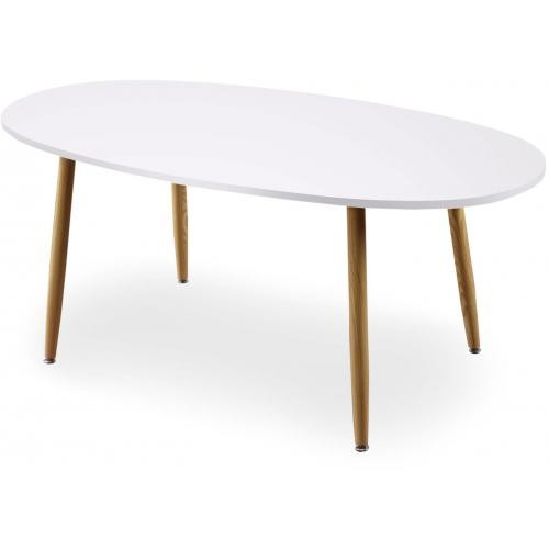 table scandinave ovale beige et blanche noelle 3s x home