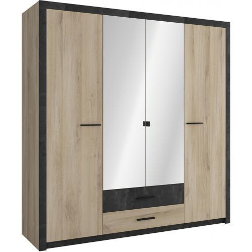 armoire beige et noire avec 4 portes et 2 tiroirs benat 3s x home