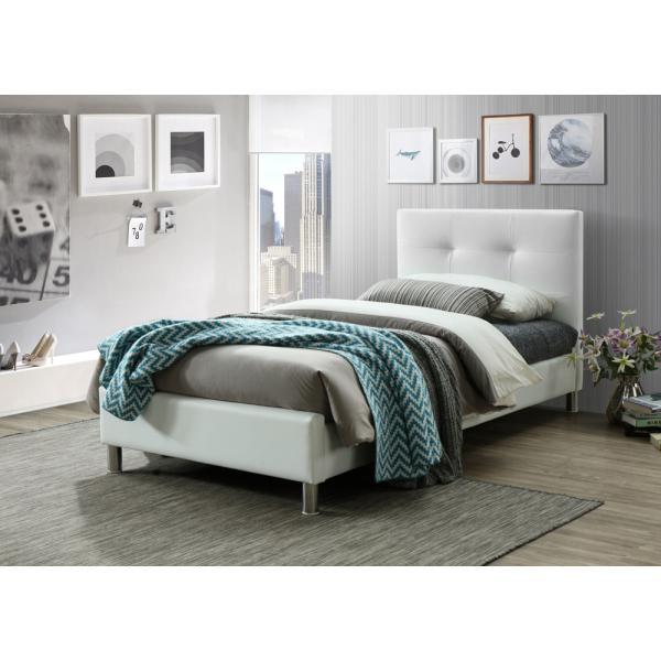 lit blanc avec tete de lit capitonnee 90cm nina