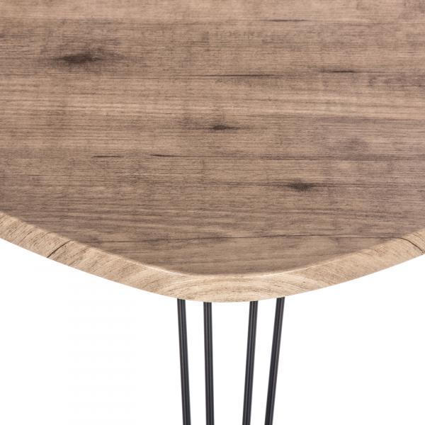 table d appoint industrielle beige et noire 69x54cm marylou
