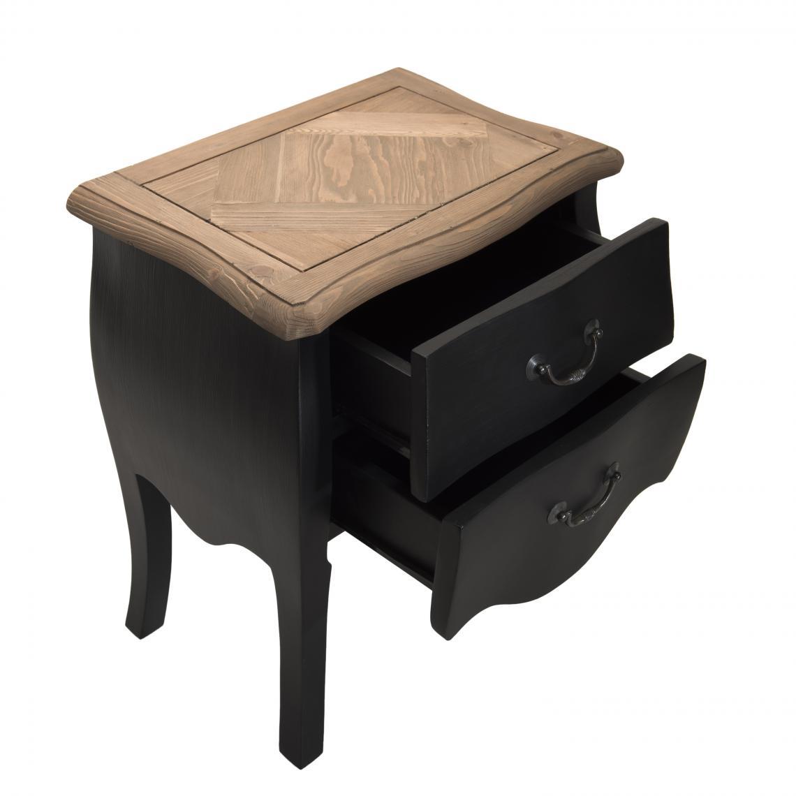 table de chevet noire 2 tiroirs en pin