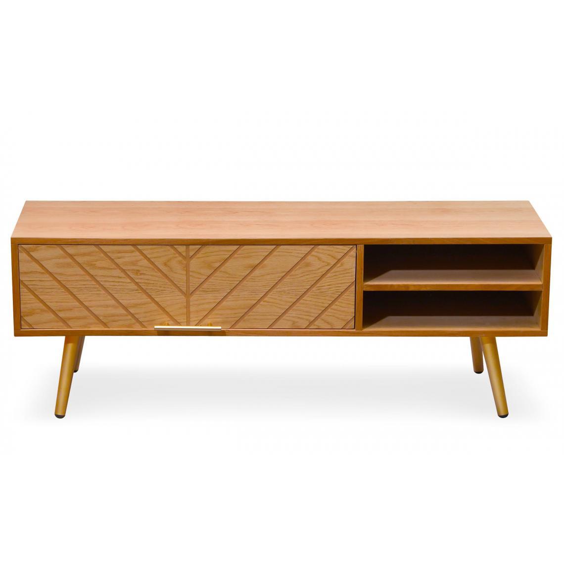 meuble tv en bois clair avec 1 tiroir