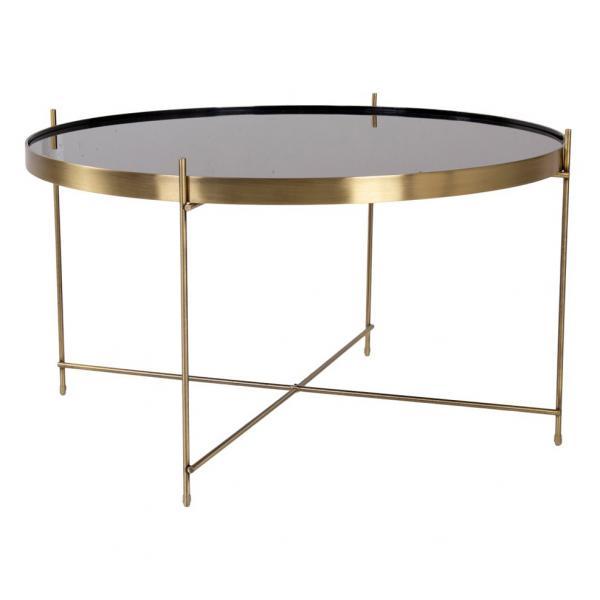 table basse ronde 70 cm en verre et en acier dore flouse
