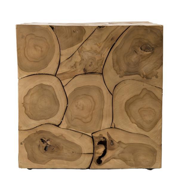 cube 40x40cm bois teck nature suva