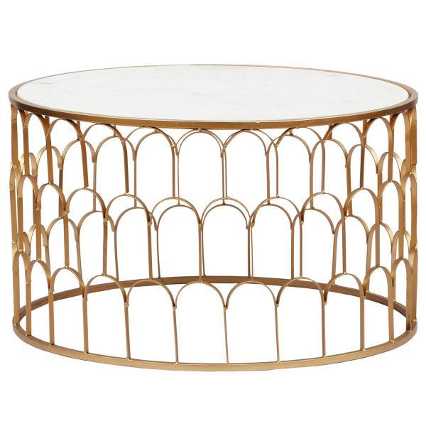table basse marbre blanc et pieds or velmir