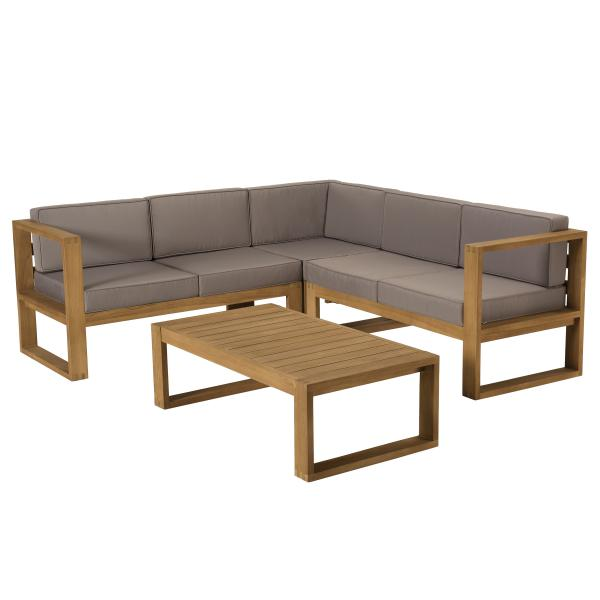 salon de jardin en bois teck 1 canape d angle 5 places avec coussin waterproof et une table basse 110x60 cm