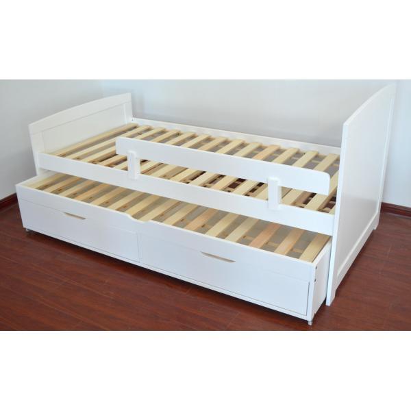 lit gigogne enfant avec sommiers et tiroirs blanc pica