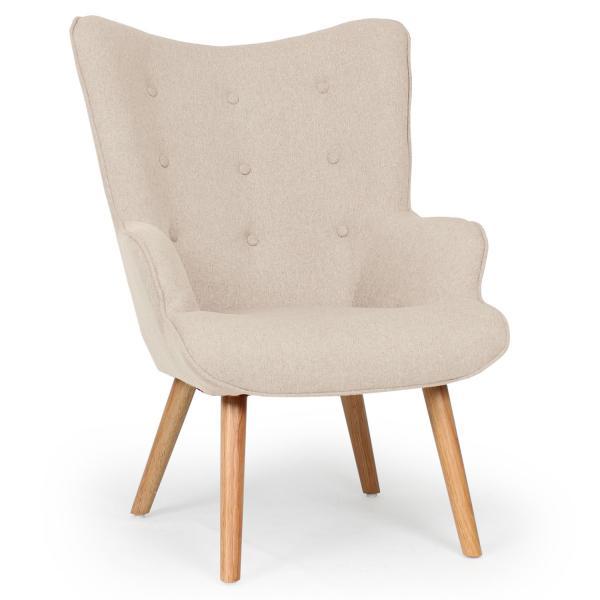 fauteuil scandinave et pouf tissu beige louy
