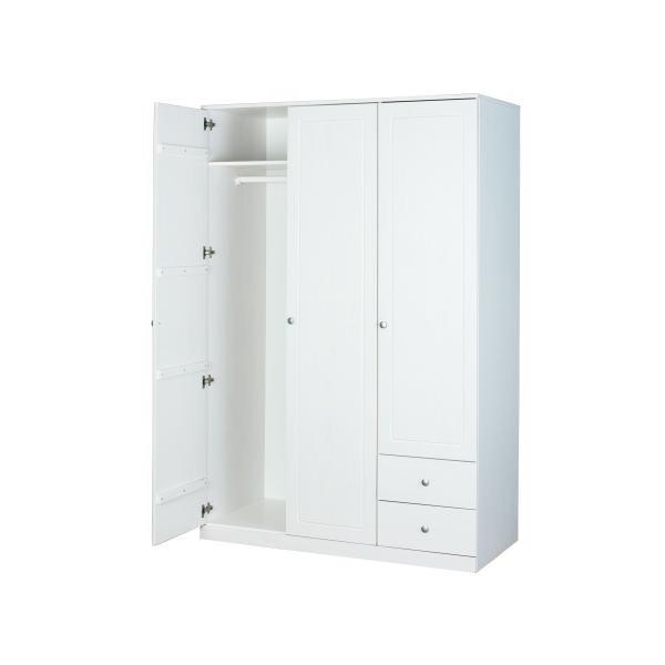 armoire penderie 3 portes en pin massif blanc rita