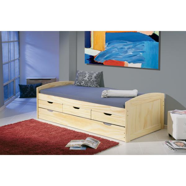 lit avec rangement en pin massif pejjy