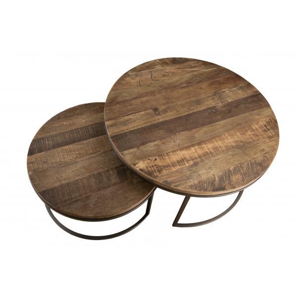 set de 2 tables basse gigogne bois en teck recycle et metal nasai
